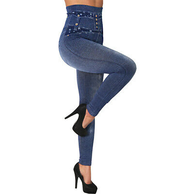 Damen Bauchweg Leggings Slim Treggings Hose Jeans Optik Jeggings High Waist (23)