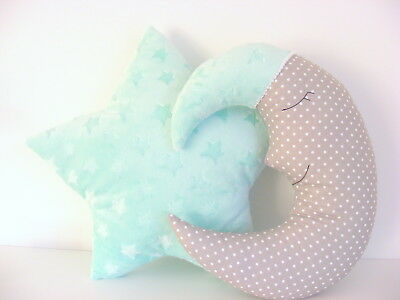 Moon Cushion and Star Cushion ,baby nursery decor gray and mint, Handmade, kids