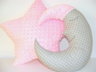 Moon Cushion and Star Cushion ,baby nursery decor gray and pink, Handmade, kids