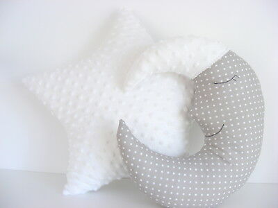 Moon Cushion and Star Cushion ,baby nursery decor gray and white, Handmade, kids