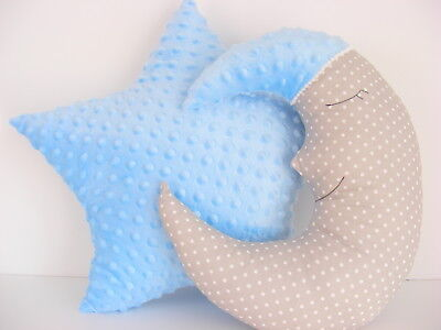 Moon Cushion and Star Cushion ,baby nursery decor gray and blue, Handmade, kids