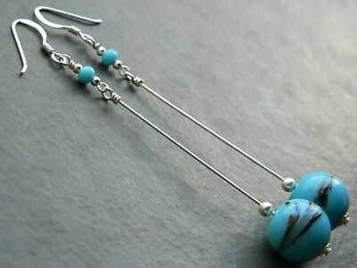 """Art Deco Murano Blue """"End of Day"""" Spatter Glass Beads & 925 Silver Long Earrings"""