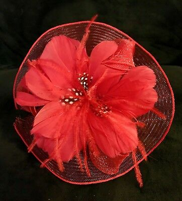 ~Lot of 6 ~ NEW Red Flower & Feather Fascinator Hair Comb for Hat Lady Society
