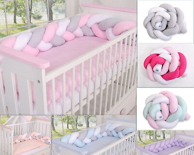NURSERY CRIB COT BUMPER  COT or COT BED/ KNOT BUMPER BRAIDED/NEST