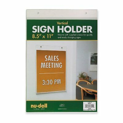 Nu-dell Sign Holder - Acrylic - 1 Each - Clear (NUD38011)