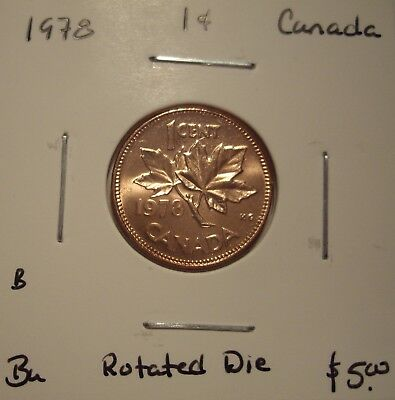 B Canada Elizabeth II 1978 Rotated Die Small Cent - BU