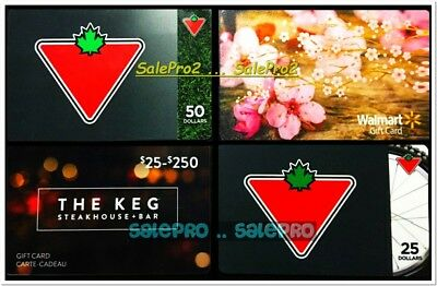 4x CANADIAN TIRE S25 S50 THE KEG S25 S250 WALMART RARE COLLECTIBLE GIFT CARD LOT