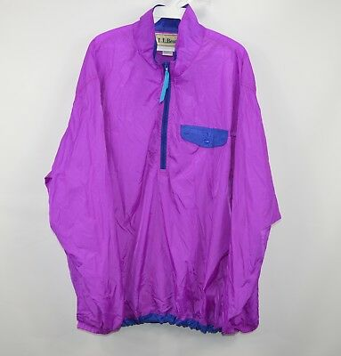 VINTAGE LL Bean Windbreaker Jacket Adult Large Purple Blue Full Zip Mens 90s *
