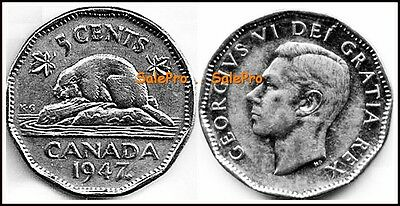 Canada 1947 Maple Canadian Nickel George Vi Vintage Rare 5 Cent Coin