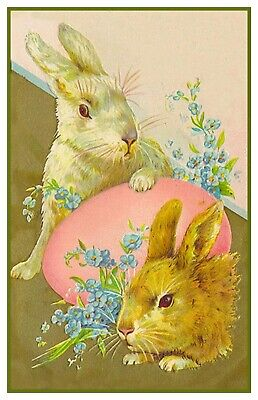 Vintage Easter Bunnies with Flowers and Pink Egg Counted Cross Stitch Pattern