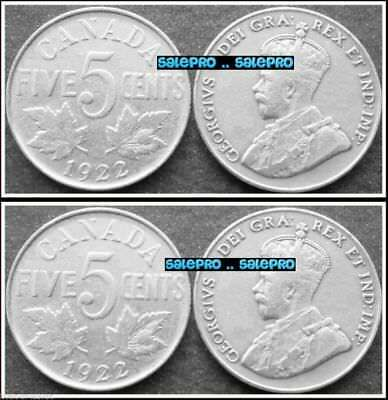 2x CANADA 1922 VINTAGE CANADIAN FLORAL NICKEL GEORGE V RARE 5 CENT COIN LOT