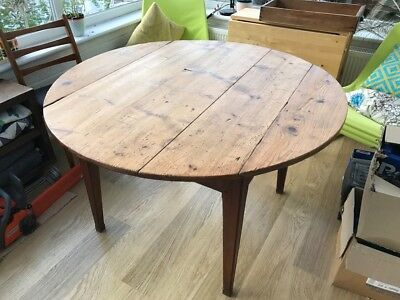 Antique French Round Table Drop Leaf