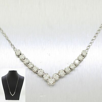 Vintage Estate 14k Solid White Gold 1.65ctw~ Diamond Chevron Necklace