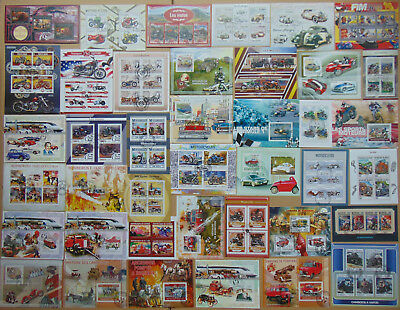 TRANSPORT Railway Cars Planes Ships 300 diff mini & souv. sheets Composition Lot
