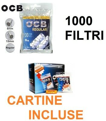 1000 FILTRI PER SIGARETTE OCB REGULAR 7,5mm CON CARTINA ORANGE FILTRO LISCIO