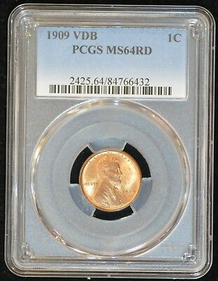 1909 VDB Lincoln Cent PCGS MS64RD - RED UNCIRCULATED & Beautiful!