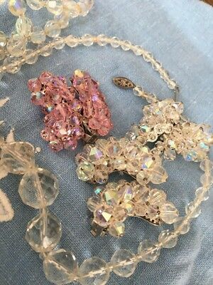 Vintage Aurora Borealis Jewelry Lot Crystal Glass Faceted Necklace Pink Earrings