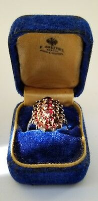 Faberge Ring KФ Design Imperial Russian 84 Silver 88 Garnet KF Workmaster Brooch