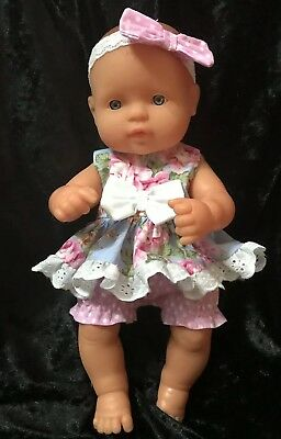 Dolls clothes made to fit 32cm Miniland  Dolls (size Small). 3  Piece Set
