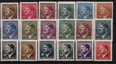 Nazi Germany Third 3rd Reich B&M Adolf Hitler head stamp set MNH