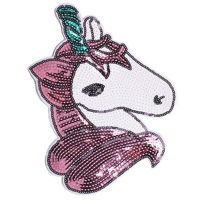 Unicorn Sequin Embroidery Sew Iron On Patch Badge Cloth Applique Bag Fabric DIY
