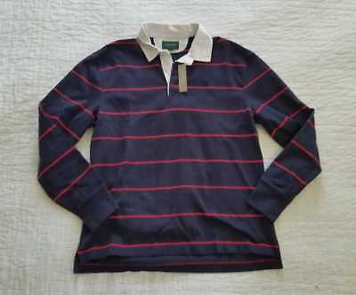 af029fdf612 New Mens M Xl J Crew 1984 Classic Rugby Longsleeve Polo Shirt In Navy Red  Stripe