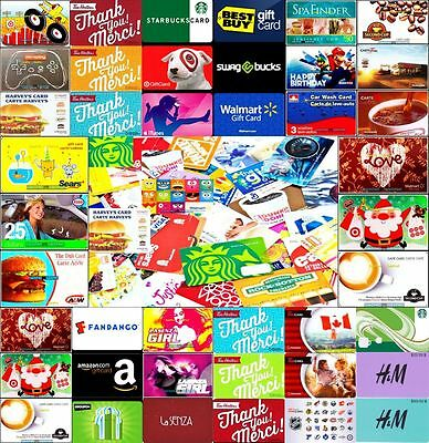 50x MIXED STORE FRANCHISE GAME SOCIAL NETWORK CANADIAN USA COLLECTIBLE GIFT CARD