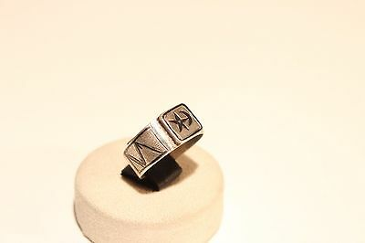 Antique Rare Hand Made Carved Islamic Ottoman Silver Niello Men's Ring