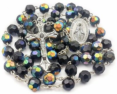 Catholic Black Dark Blue Rosary Crystal Beads Necklace Miraculous Medal & Cross