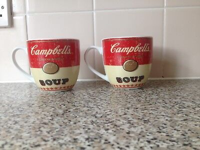 2 Rare Andy Warhol  Campbells Soup Mugs 2009  Never Used Save £Sss