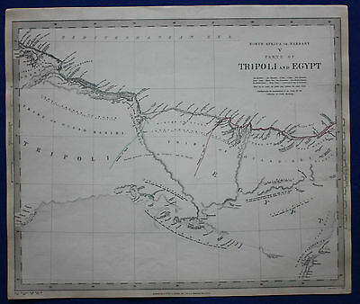 Original antique map LIBYA, TRIPOLI, EGYPT, ALEXANDRIA, SDUK 1837