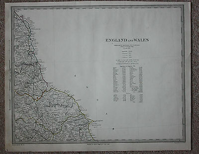 Original antique map NORTH EAST ENGLAND SDUK (sheet 1 of 6), 1845