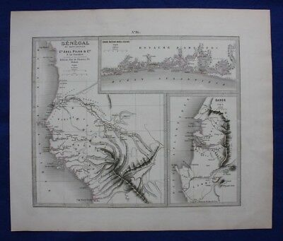 Original antique map AFRICA, SENEGAL, GABON, Le Vasseur, Fisquet, Pilon, 1878
