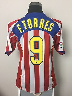 F. TORRES #9 Atletico Madrid Home Football Shirt Jersey 2004/05 (M)