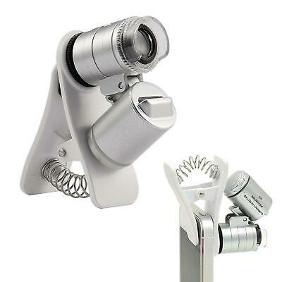 Australia KINGMAS 60X Clip-On Microscope Magnifier Universal Lens with LED/UV Li