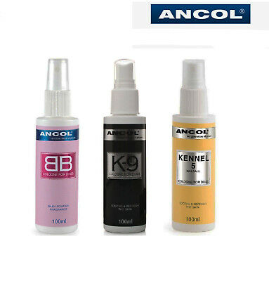 Ancol Dog Puppy Cologne Perfume Deodorant Spray baby powder, Kennel 5, K9 Black
