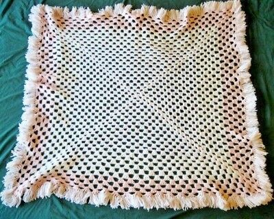 Handmade Baby Afghan Knit Crochet 41 x 41 White Pink with Fringe Blanket Throw