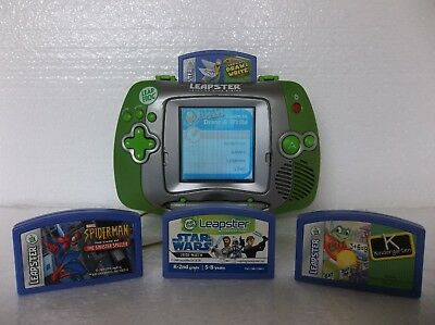 Leap Frog Leapster Learning Game System W/ Protective Screen Cover & 4 Games