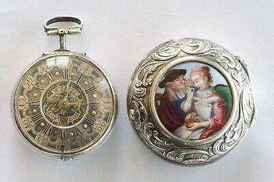 Silver Pair Case Enamel Plaque Verge Fusee Champleve Pocket Watch - 1740