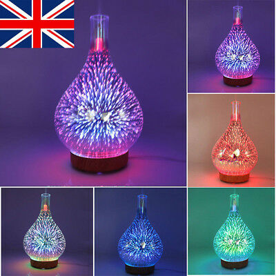 3D Firework Glass Essential Oil Aroma Diffuser LED Ultrasonic Humidifier 100ml