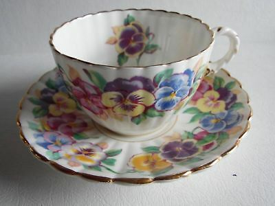 Pretty Viola Royal Stafford English Bone China Pansy Floral Teacup and Saucer