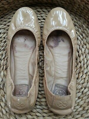 c796d118cba TORY BURCH EDDIE Olive Green Patent Leather Ballet Flats Shoes Size ...