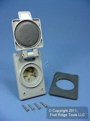15 Amp NEMA 6-15P Flanged Power Inlet With Front and Back Covers by AC WORKS®
