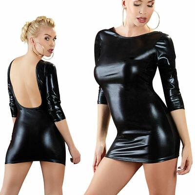 "Sexy Damen Minikleid S M L XL Wetlook Mini Kleid Glanz Rückenfrei Party ""Sadie"""