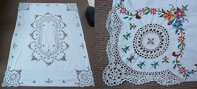 """Vintage Hand Embroidered Openwork Linen Floral Tablecloth 48"""" x 66"""" Rectangular"""