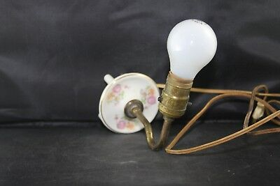 Vintage Porcelain Wall Light Sconce with Flowers and Gold Rim Brass neck