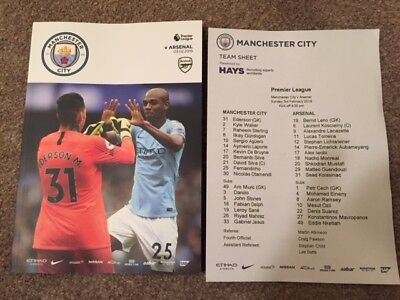 Manchester City V Arsenal Premier League 2018-19 With Official Teamsheet