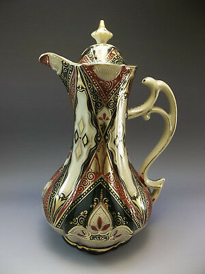 Secessionist Hand Painted Chocolate Pot Pitcher Green Red Porcelain