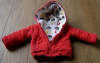 Baby Boys Reversible Hooded Red Cotton Jacket By Sookibaby Sz 0 - 3 Months