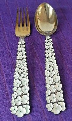 1956 Sterling Silver A. MICHELSEN CHRISTMAS SPOON & FORK Snow Flowers DENMARK